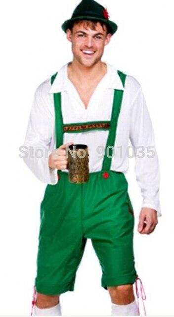 FREE SHIPPING Oktoberfest Lederhosen + Hat Fancy Dress Mens German Beer Man  Bavarian Costume 0d44ec1506c0