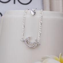 Wholesale Free Shipping silver plated Anklets,silver plated Fashion Jewelry Inlaid stone moon Anklets SMTA022