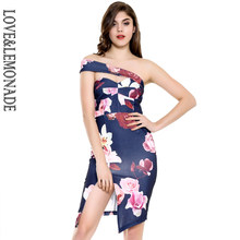 Love&Lemonade Navy Wipes Slits Printed Dresses TB 10002 Autumn/Winter(China)