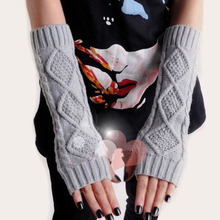 Ladies Long Fingerless Warm Gloves Women Amazig Long Mitten Gloves Woman Knitted Arm Wrist Winter Gloves Solid Color H6630 P30