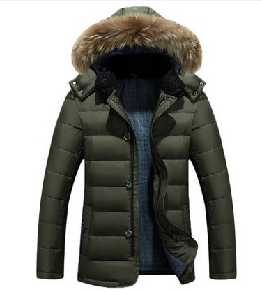 Heavy hair white duck down collar men down jacket Young men with thick coat turn down fur collar winter coat middle aged men thick velvet men s leather jacket down coat winter jackets for men down jacket