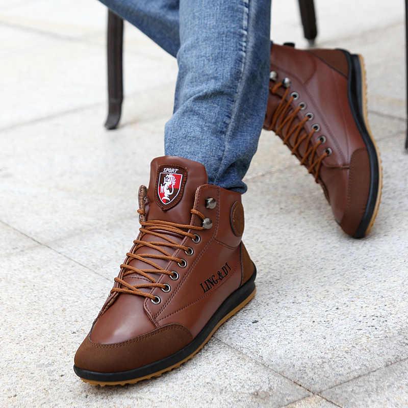 2018 แฟชั่นผู้ชาย PU หนังรองเท้าขนาด 39-44 ฤดูใบไม้ร่วงฤดูหนาวผ้าฝ้ายข้อเท้ารองเท้าบูทยี่ห้อ Man รองเท้ารองเท้า