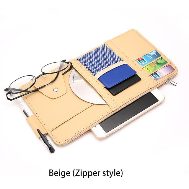 IKSNAIL coche accesorios gafas de sol Clip coche almacenamiento bolsa multifuncional sol Visor Bill tarjeta de negocios titular caja de almacenamiento