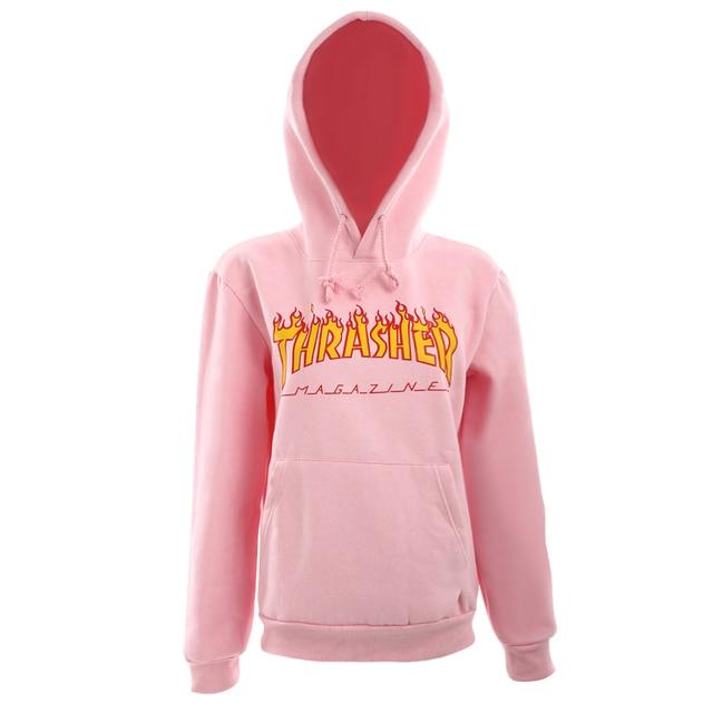 2017 Pink Fleece Autumn Winter Trasher Men's Hoodies Streetwear Skateboard Hip hop Hoody Thrasher Sweatshirt Men Women Sweat XXL
