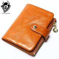 2015 Brand Design High Quality Women Genuine Leather Vintage Wallet Cowhide Coin Purse Oil Waxing Purses