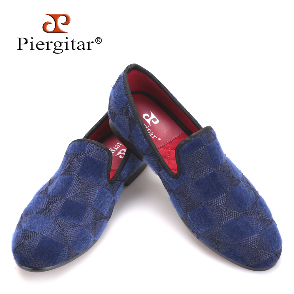 Piergitar 2017 two colors men velvet shoes with plaid horse hair design Handmade men prom loafers men plus size casual falts simple men s casual shoes with criss cross and color block design