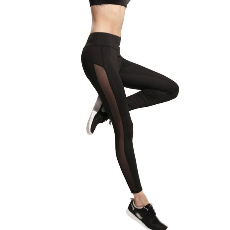 New Black Women   Leggings   Sexy Side Mesh Patchwork Fashion Quick Dry   Leggings   Sexy Slim Elastic Fitness   Leggings   For Female