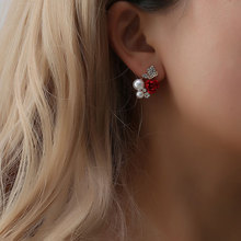 TTLIFE Stylish Red Rose Flower Stud Earrings Imitation Pearl Earring Crystal Beautiful Gold Jewelry for Women pendientes mujer