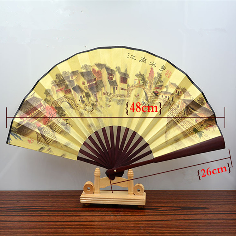 1pc Chinese Style Fan Print Bamboo Ribs Folding Fabric Handmade Hand Fan Home Decoration Crafts QLY9581