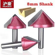 HUHAO 8mm shank V Bit CNC katı karbür end mill 3D freze uçları ahşap 60 90 120 150 derece tungsten ahşap freze kesicisi