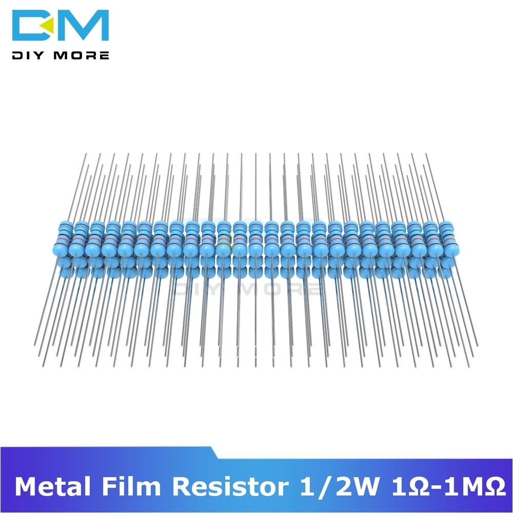 100PCS Diymore Metal Film Resistor 1% +1% -1% 1/2W 0.5W 1R-1M Ohm Resistance Diy Electronic 1K 2.2K 4.7K 5.1K 6.8K 10K 15K 22K