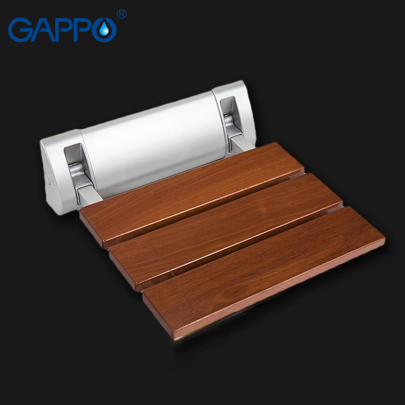 GAPPO Wall Mounted Shower Seats Solid wood folding chair bathroom relax chair shower Stool toilet Bath bench solid wood folding shower seat spacing saving wall mounted morden seat relaxation folding chair waiting chair wall chair