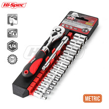 Hi-Spec 15pc 1/4 Metric Socket Wrench CR-V Drive Bike Torque Wrench Spanner Set 4-14mm Mini Ratchet Wrench Set Auto Repair Tools