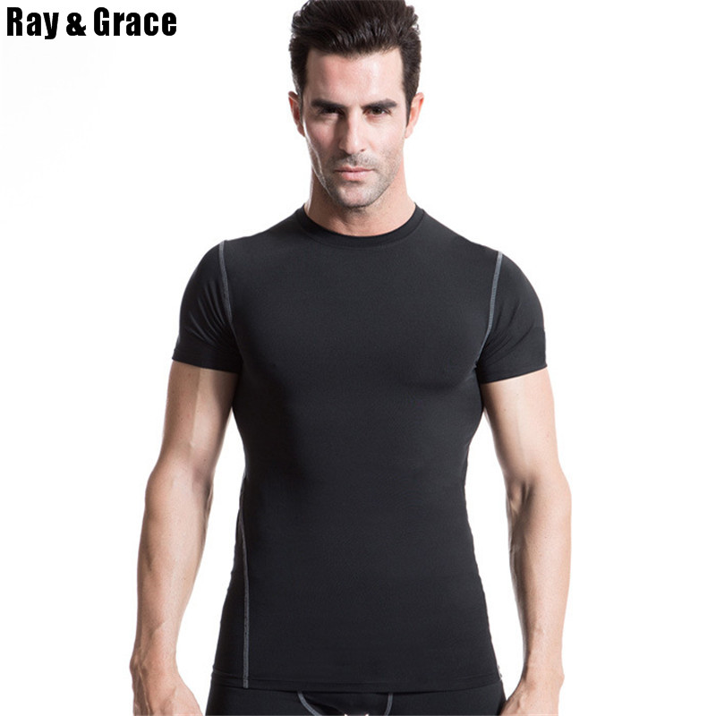 все цены на Hot T shirt Men High Quality Solid Color Slim Short Sleeves Shirts Soccer Jerseys Bodybuilding Fitness Running T-shirt Men Shirt онлайн