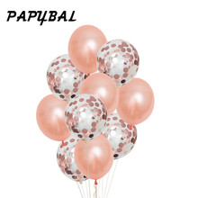 Rose Gold Balloon med papper DIY Confetti Ballonger Fira Party Bröllop Födelsedag Bride Champagne Love Letter Party Decor