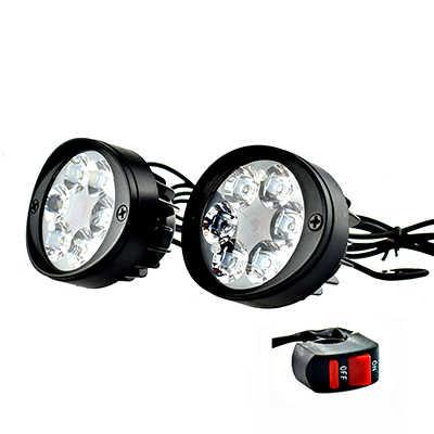 2PCS LED Motorcycle Headlight Motorbike Mirror Mount Driving Headlamp Spotlight Assist Head Spot Fog Lamp Moto Side Mirror Light