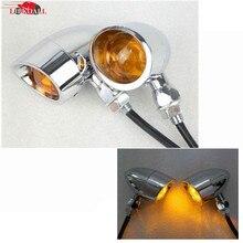 цена на Motorcycle Chrome Bullet Turn Signal Light Amber Indicator Lights Lamp for Harley Sporster Softail Bobber Chopper Cruiser Custom