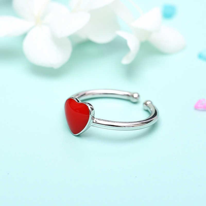 Преувеличенные большие серьги 925 пробы серебряные кольца с сердечками для Для женщин Свадебные украшения Винтаж S925 открыть античное кольцо Anillos