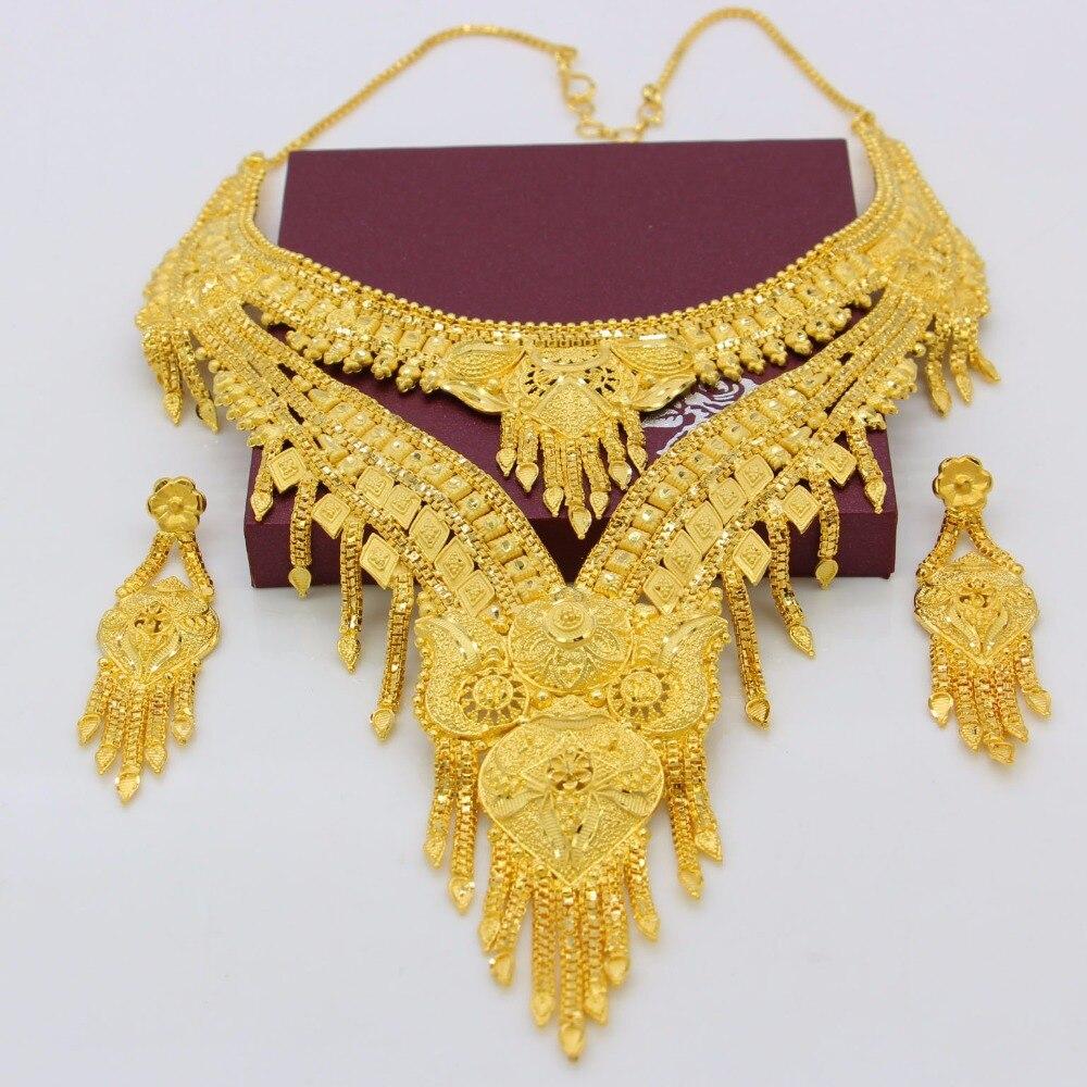 Adixyn nouveau 2018 de luxe arabe Dubai collier/boucles d'oreilles ensemble de bijoux couleur or et cuivre cadeaux africains mariée accessoires de mariage - 3