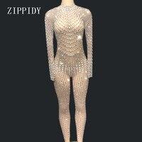 Яркие жемчуг кристаллы сетка Комбинезоны Сексуальная Стразы перспектива боди этап Одежда для танцев вечер праздновать Сияющий костюм