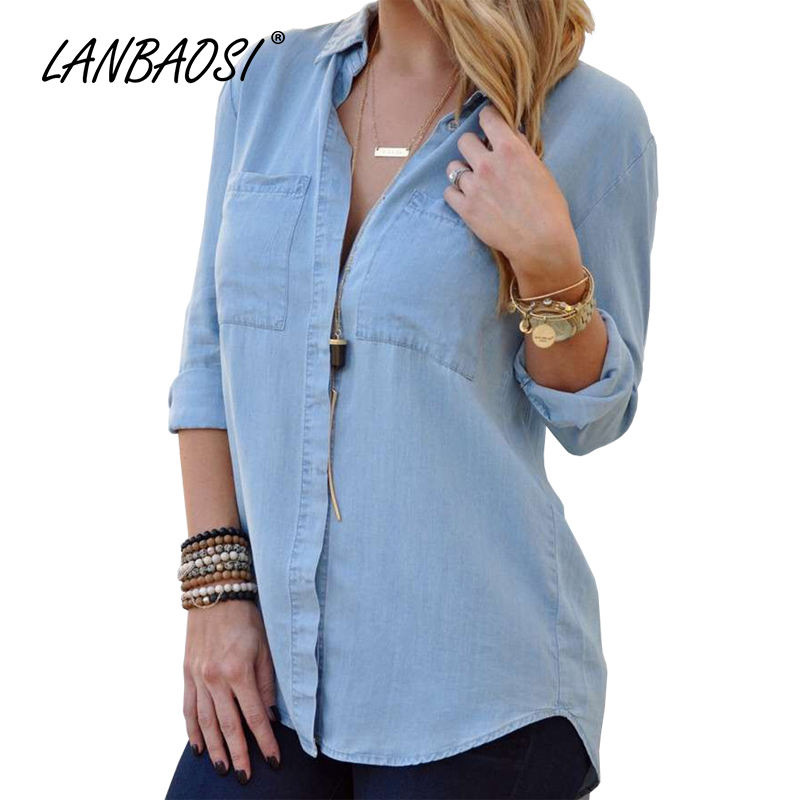 Lanbaosi jean women 39 s light blue denim shirts casual loose for Blue denim shirt for womens