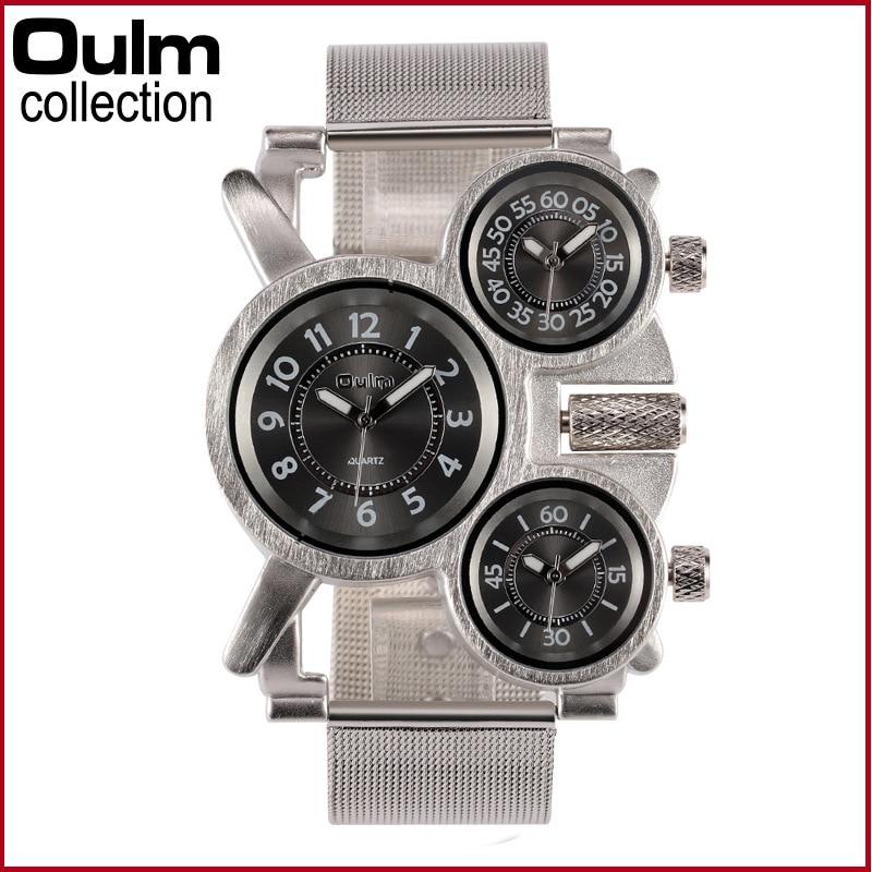 Oulm Men Fashion Steel  Sports Watches Waterproof Dual Quartz Military Wrist Watch oulm brand adventure men s quartz military watches with dual movt compass
