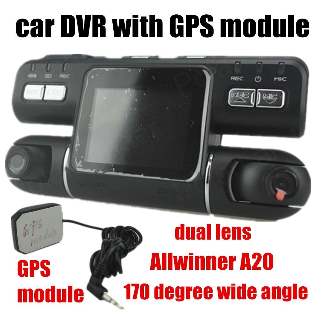 Двойной набор объектива HD поддержка А20 модуль GPS автомобильный видеорегистратор камеры видеокамеры рекордер 140 градусов широкий угол ночного видения