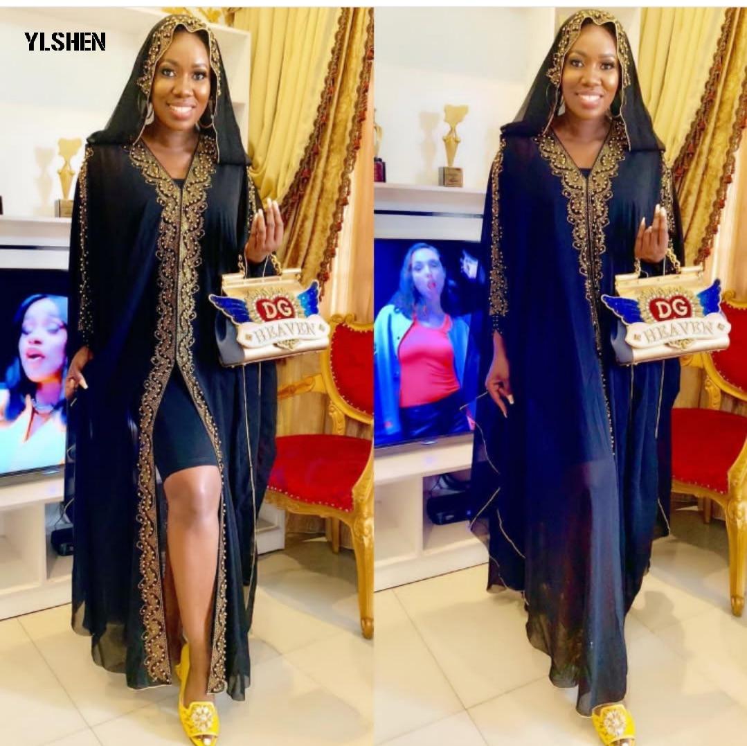 2019 Hooded Summer African Dresses For Women Chiffon Abaya Robe Femme Plus Size Split Black Dress With Elastic Inner Wear 2 PCS