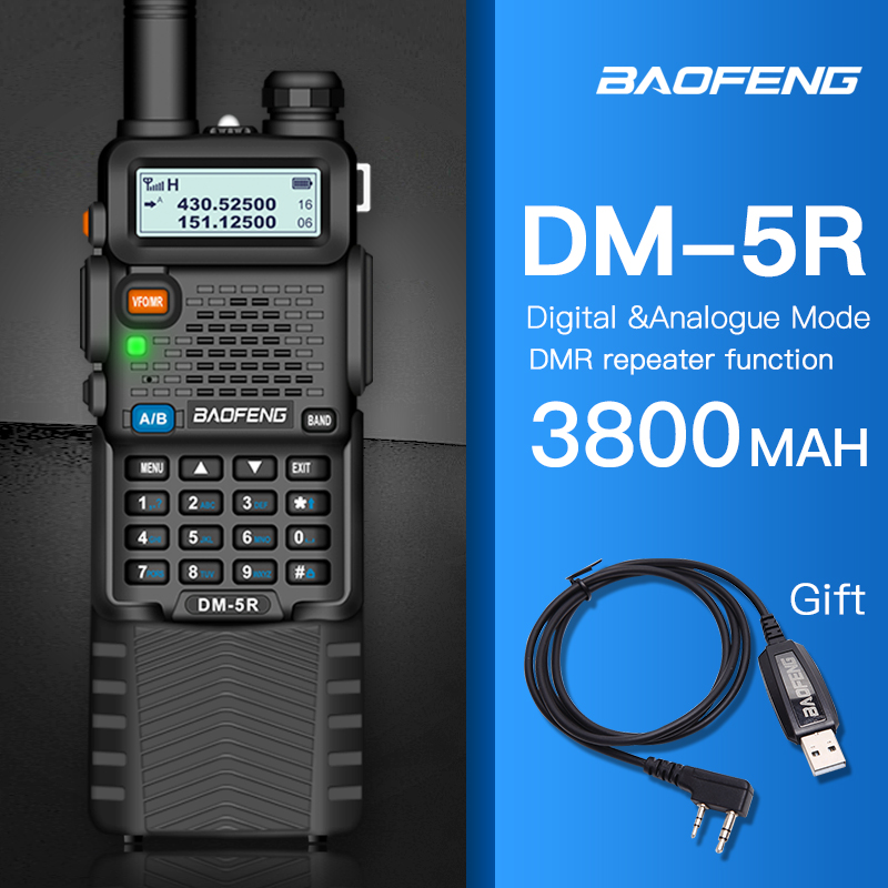 Baofeng DMR 5R Ham Amateur Two Way Radio VHF/UHF Dual Band Dual Time Slot Walkie Talkie 1024 CH Tier I & II Compatible with MOTO-in Walkie Talkie from Cellphones & Telecommunications