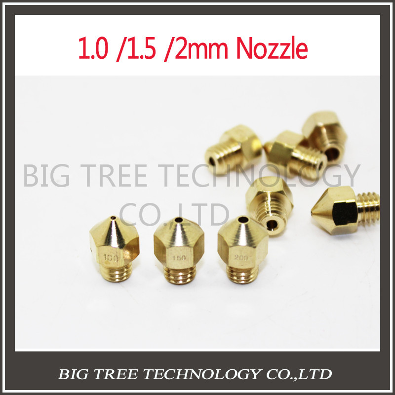 3D Printer Accessories Large diameter Big Hole Diameter 1.0mm 1.5MM 2MM For 3MM Filament Supplies Sprinkler head Brass Nozzle