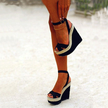 Sweet are free shipping, black cashmere leather, buckle, 5 cm waterproof, 15 cm stiletto sandals wedge sandals. SIZE:34-45