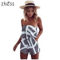 Zkess 2017 Women Off Shoulder Jumpsuit Ruffles Romper Summer Sexy Short Playsuit High Waist Casual One