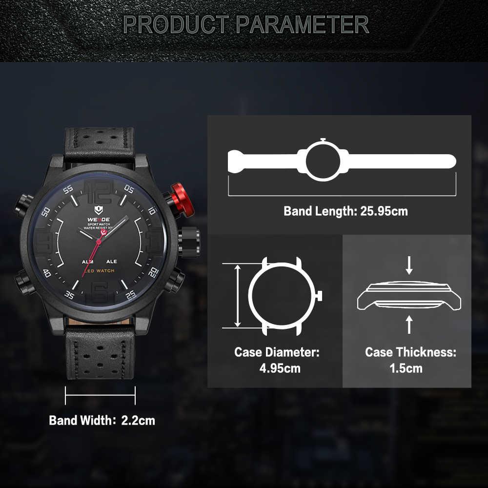 WEIDE mężczyźni dorywczo mody kwarcowy wyświetlacz top marka prawdziwy skórzany pasek wojskowy zegarek wojskowy bransoletka kupić jeden dostać jeden za darmo