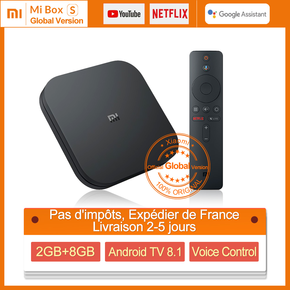 Boîtier TV Original Xiao mi Box S 4 K HDR Android 8.1 Ultra HD 2G 8G WIFI Google Cast Netflix décodeur 4 lecteur multimédia
