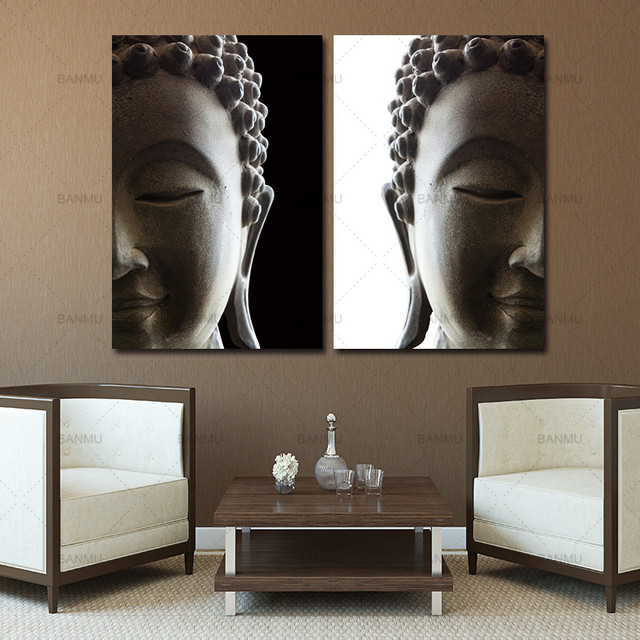 Canvas Painting Wall Art Print 2 Penel Buddha Picture Landscape Modern Living Room Decorative
