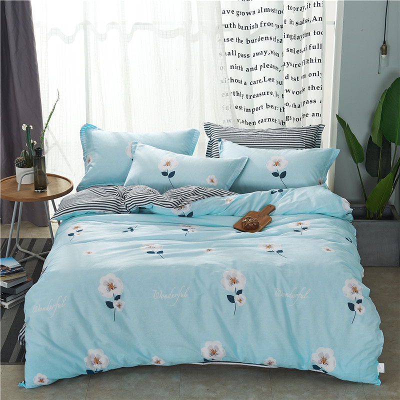 Textile 100% Cotton Simple Light Blue Flowers Style 4pcs Bedding Sets Duvet Cover Pillowcase stripe sheet Bedclothes full sizeTextile 100% Cotton Simple Light Blue Flowers Style 4pcs Bedding Sets Duvet Cover Pillowcase stripe sheet Bedclothes full size