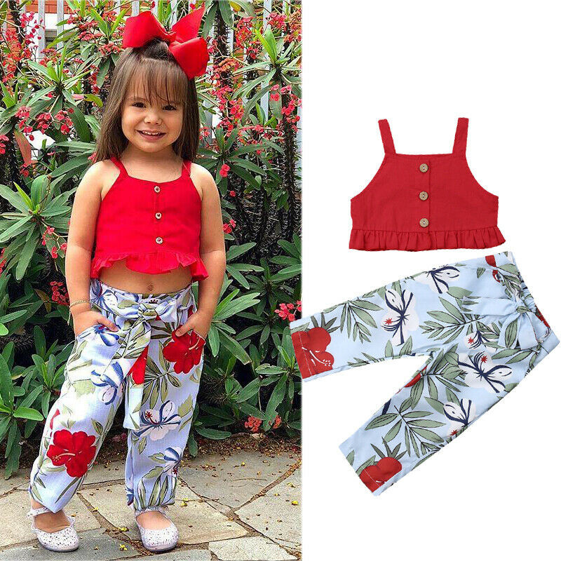cb60e145e2b5 Toddler Kids Baby Girls Clothes off shoulder Button Strap solid sleeveless  Tops Geometry bow Pants 2pc