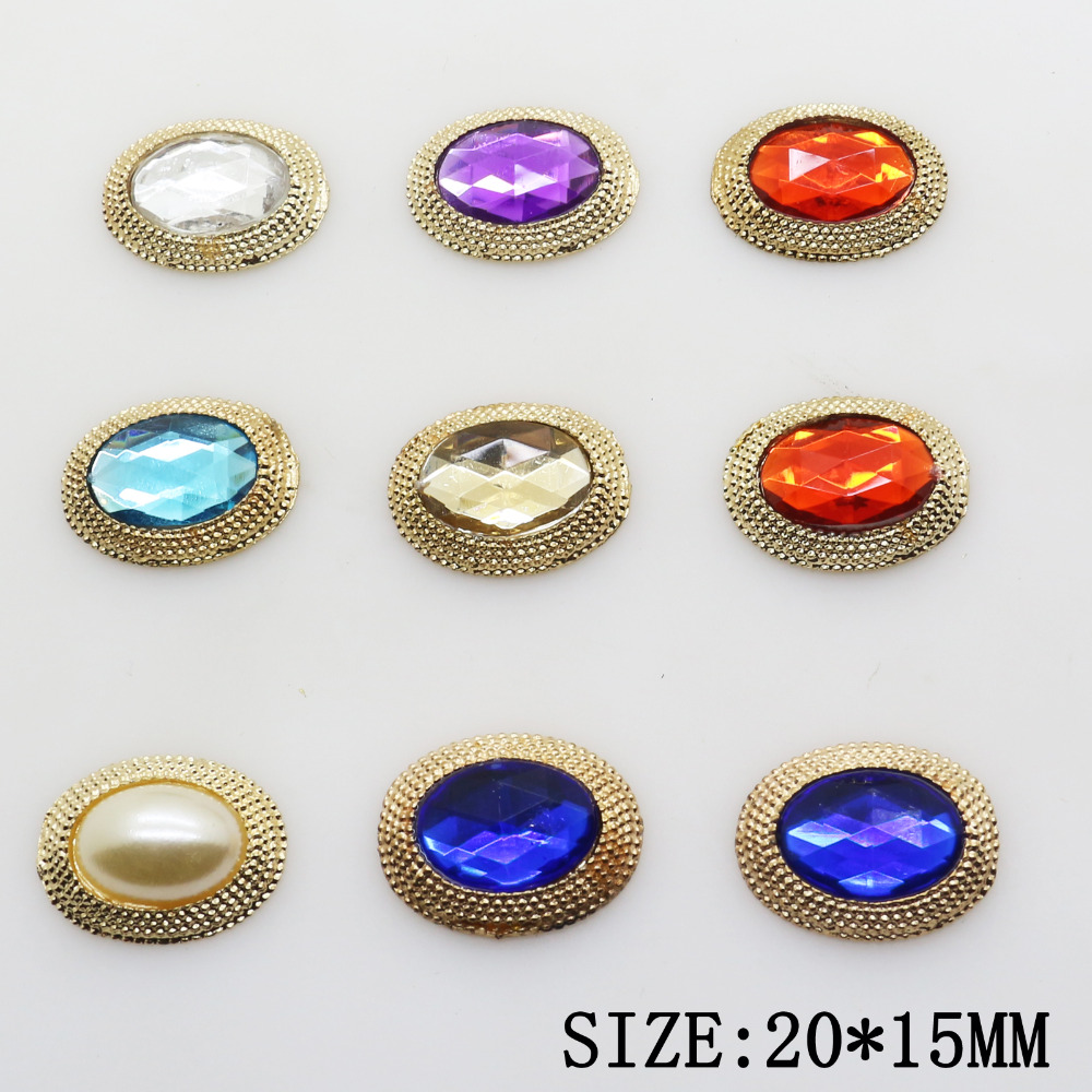 New Fashion 10pcs 20*15mm Gold Resin Metal Rhinestone Beads Jewelry Accessories/Component For Caps Decoration Wholesale Supply