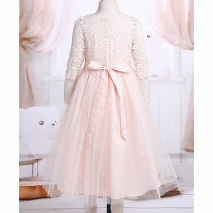 Image 4 - Princess Kids Flower Girl Lace Dress Half Sleeve Pageant Wedding Birthday Party Floral Lace Dress Clothes Teenage Girls Clothing