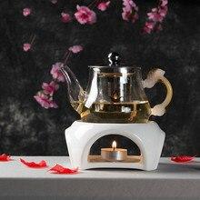 Японский стиль керамический чайник триветы алкоголь свеча нагревание кофе молоко устройство для подогрева чая набор горшок держатель база чайная посуда чайники плита