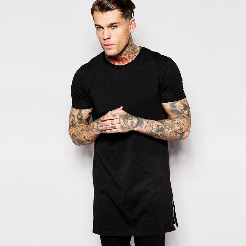 hip hop t shirt cotton 100 us size long t shirt men with side zipper short sleeve streetwear. Black Bedroom Furniture Sets. Home Design Ideas