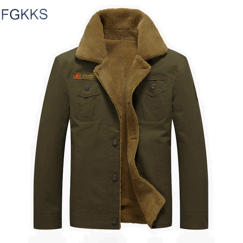 FGKKS Men Jackets Warm   Parka   Coat Military Bomber Jackets Men's Cotton Thick Army Fashion Tactical Outwear Male Jackets