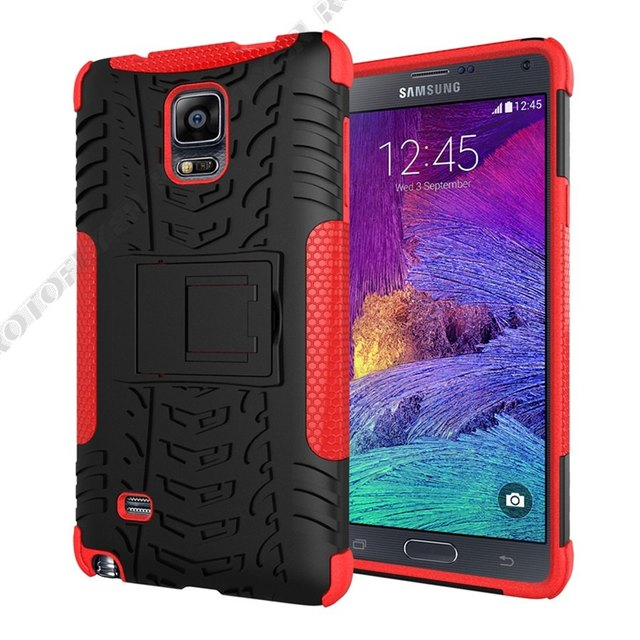 "Armor Heavy Hybrid Back Cover Case for Samsung Galaxy Note 4/SM-N910S N910C N910H N910L N910K 5.7"" Kickstand Funda Coque 2 in 1"
