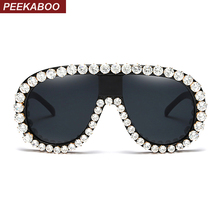 Peekaboo oversized rhinestone sunglasses women designers luxury party crystal sun glasses for women black uv400