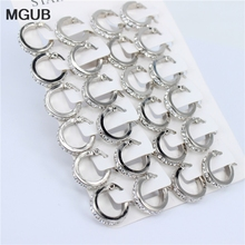 Hoop-Earrings Fashion Jewelry Stainless-Steel Crystal Silver-Color MGUB Wholesale12-Pairs/Sets