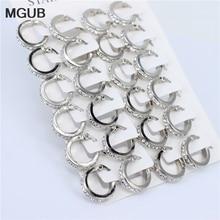 MGUB pendientes femeninos de aro de cristal, joyería de acero inoxidable, pendientes de color plateado, venta al por mayor, 12 pares/conjuntos LH549