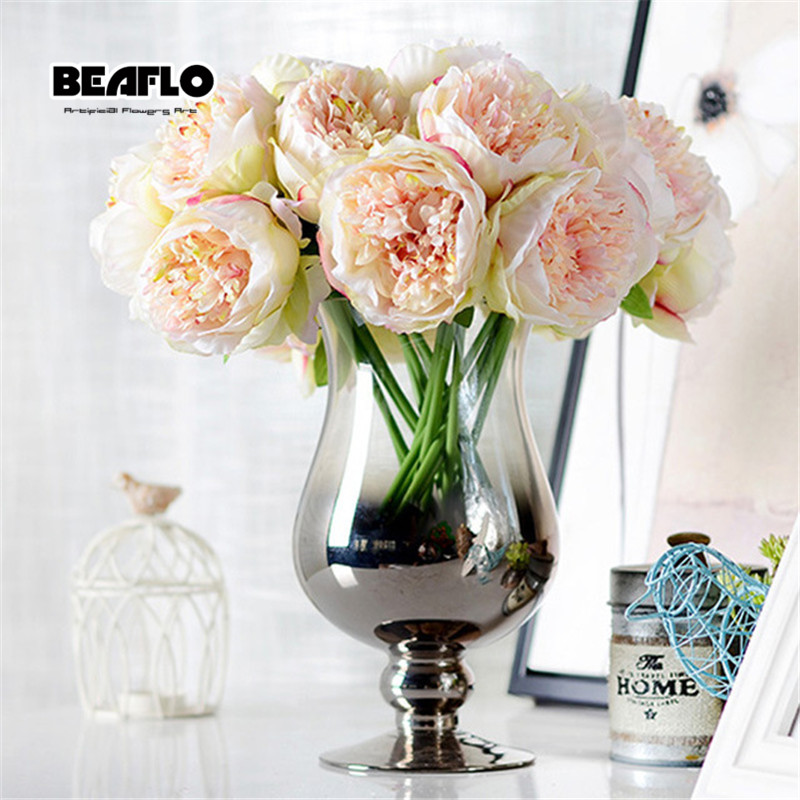 4 Culori 1Bunch European Artificial Flower Frumoasă Peony Bridal Bouquet Crăciun Nunta Party Home Decorative