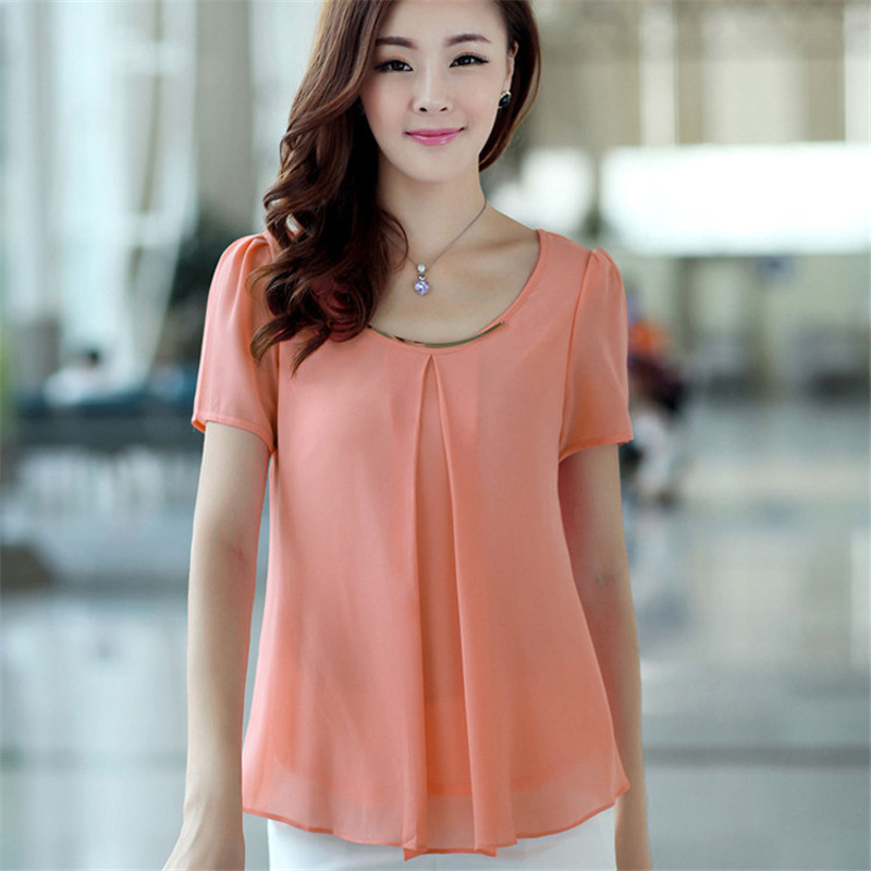 52cab9e863c4f8 2015 Plus Size Summer Fashion Women Blouse Solid Chiffon Blouse Plus Size  Casual Lady Tops Blusas Shirts E5107-in Blouses & Shirts from Women's  Clothing on ...