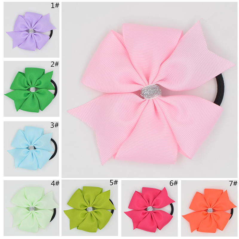 3.6''  Solid Ribbon Hairbow Handmade Pinwheel Bows With Elastic Band Windmill Hair Accessories 15COLORS 10pcs lot high quality hair band with grosgrain ribbon flower for girls handmade flower hairbow hairband kids hair accessories