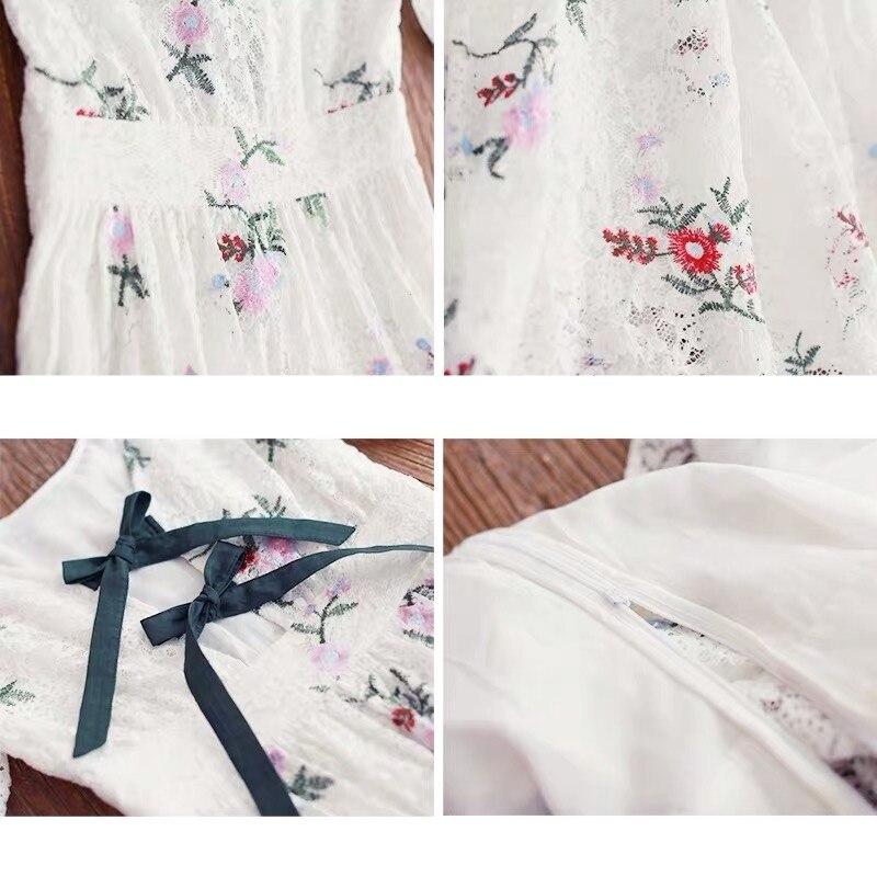 Pour Eté Courtes Longue Irinay519 En Collection Vintage Manches 2019 Fille Nouveauté Robe Dentelle Femmes White Brodée Printemps v8nwOmN0